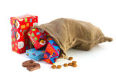 Bag full of Sinterklaas presents — Stock Photo