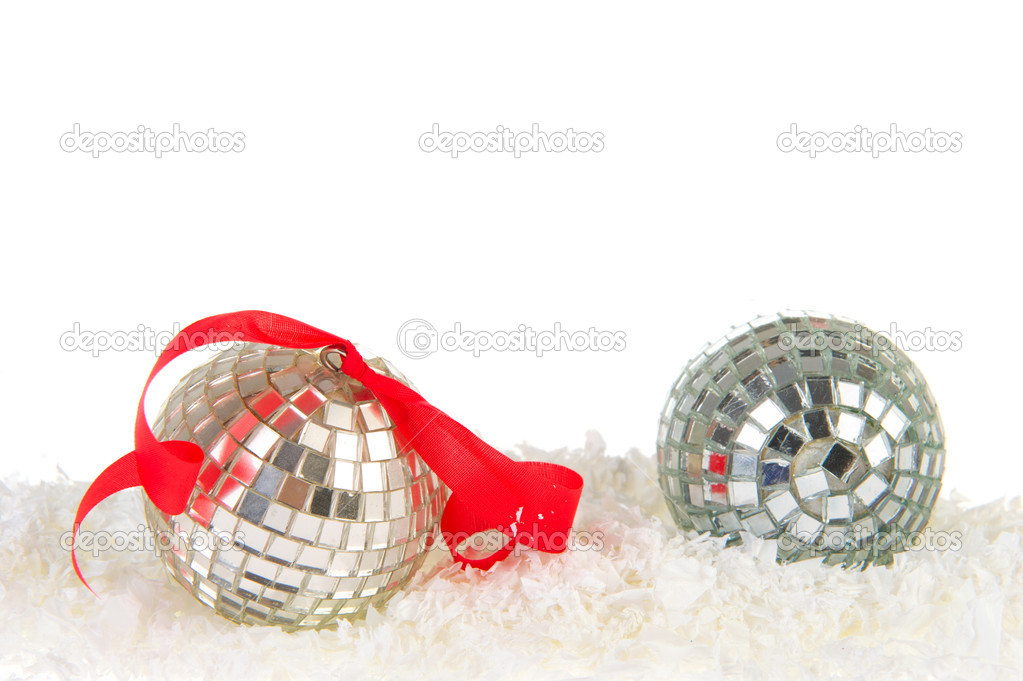 Silver Christmas balls in white snow with copy space — Stock Photo #7862641