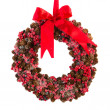 Christmas wreath from pine apples - Stock Photo