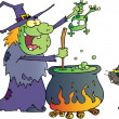 Cat Watching An Ugly Halloween Witch Holding A Frog Over A Cauldron — Stock Photo #7275647