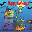 Royalty-Free Stock Photo: Happy Holidays Greeting Over A Green Halloween Witch Making A Potion