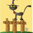 Black Cat Witch Cartoon Character On Fence — Stock Photo #7275676