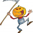 Grinning Scarecrow Reaper With Scythe — Stock Photo