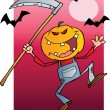 Grinning Scarecrow Reaper With Scythe In Night — Stock Photo