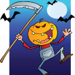 Happy Halloween Over A Grinning Scarecrow Reaper With Scythe — Stock Photo #7275707