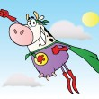Royalty-Free Stock Photo: White Super Hero Cow Flying