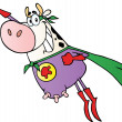 White Super Cow Flying — Stock Photo
