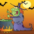 Ugly Witch Preparing A Potion In Halloween Night — Foto de Stock