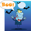 Happy Vampire With Speech Bubble And Text Boo — Stock Photo #7276069