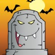 Laughing Evil Tombstone Under Bats On Orange - Stock Photo