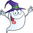 Ghost Holding His Hands Up And Wearing Witch Hat — Stock Photo #7276099