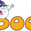Ghost Wearing Witch Hat In Word BOO — Stock Photo #7276131