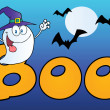 Ghost Wearing Witch Hat In Word BOO — Stock Photo #7276135