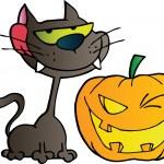 Black Cat And Winking Halloween Jackolantern Pumpkin — Stock Photo #7276148