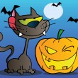 Black Cat And Winking Halloween Jackolantern Pumpkin — Stock Photo #7276149