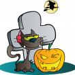 Clipart Black Cat And Winking Halloween Jackolantern Pumpkin By A Tombstone — Stock Photo #7276172