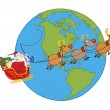 Stock Photo: Santa And Reindeer Flying Over Earth