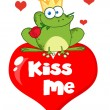 Frog Prince With A Rose On A Kiss Me Heart — Stock Photo