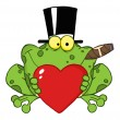 Frog With A Hat And Cigar — Stock Photo