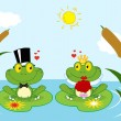 Frog Bride And Groom On A Pond — Stock Photo
