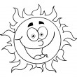 Outline Of A Happy Sun — Stock Photo