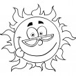 Royalty-Free Stock Photo: Outline Of A Goofy Sun Wearing Shades And Sticking His Tongue Out