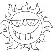 Stock Photo: Outline Of A Cool Sun Wearing Shades