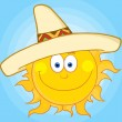 Happy Sun With Sombrero Hat - Stock Photo