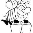 Stock Photo: Outlined Worker Bee Carrying Two Buckets