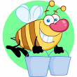 Stock Photo: Happy Honey Bee Flying With Buckets