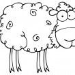 Outlined Barnyard Sheep Eating Grass — Stock Photo