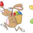 Happy Easter Rabbit Running With A Basket And Egg - Stock Photo