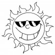Outline Of A Cool Sun Wearing Shades — Stock Photo #7277067