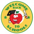 Welcome Back To School Circle And Student Apple Holding A Diploma — Stock Photo #7277120