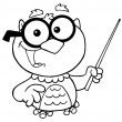 Outlined Professor Owl Holding A Pointer Stick - Stock Photo
