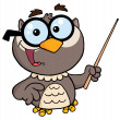 Professor Owl Holding Pointer Stick — Stock Photo #7277129