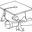Outlined Graduate Cap With Diploma — Stock Photo #7277132