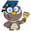 Happy Professor Owl Ringing A Bell — Stock Photo