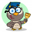 Stock Photo: Professor Owl Ringing Bell