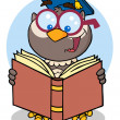 Professor Owl Reading A Book — Stock Photo