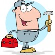 Handy Man With Tool Box — Stock Photo