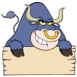 Stock Photo: Purple Bull And Blank Sign