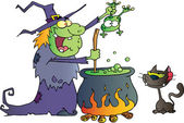 Cat Watching An Ugly Halloween Witch Holding A Frog Over A Cauldron — Stock Photo