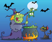Cat Watching A Green Halloween Witch Holding A Frog Over A Cauldron — Stock Photo