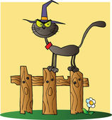 Black Cat Witch Cartoon Character On A Fence — Stock Photo