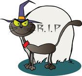 хэллоуин ведьмы кошку, отметка — Стоковое фото