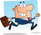 Businessman Running To Work — Stock Photo