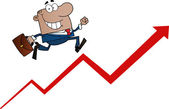 Black Businessman Running Up An Arrow — Stock Photo