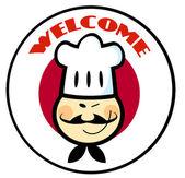 японский флаг круг азиатских шеф-повар лицо над a — Стоковое фото