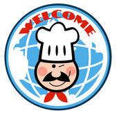 Chef dibujos animados de la cara del hombre en el frente del globo — Foto de Stock